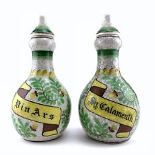 Porcelain Barber Bottles Raku Glaze Din Ars and Sy. Calamenth Vintage
