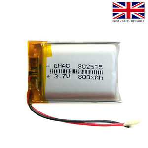 3.7V 800mAh LiPo 1S Polymer Rechargeable Battery: GPS Camera Speaker - 802535