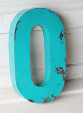 "20"" Industrial Rustic Block Letter O Sign, Teal, Recycled Metal Letter"