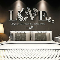 Removable 3D Leaf LOVE Wall Sticker Art Vinyl Decals Sofa BedRoom Mural Decor