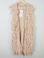 PINK DIAMOND | Womens Wild Laurel Shaggy Fluffy Vest [ Size M / L or 12 - 14 ]