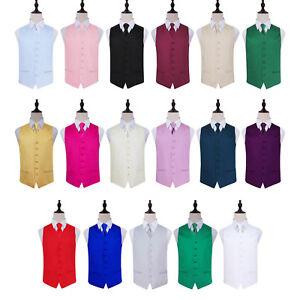 Mens Boys Waistcoat Tie Set Satin Plain Wedding Vest FREE Random Hanky by DQT