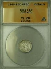 1865-S Seated Silver Half Dime 5c Coin ANACS VF-20 Details Cleaned (WW)