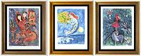 "3 Chagall Prints:""BrideParis,CircusGirl,BayAngels"" Signed/Hand-Numbr (unframed)"