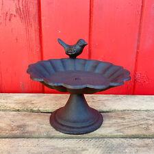 More details for cast iron flower petal robin garden bird bath water feeder smooth ornate stand