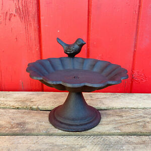 Cast Iron Flower Petal Robin Garden Bird Bath Water Feeder Smooth Ornate Stand