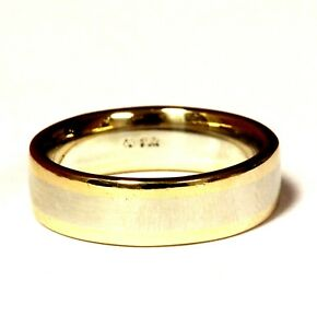 14k yellow white gold two tone 6mm wedding band ring 8.8g 8 comfort fit mens