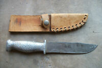 WWII hand hammmered aluminum handle fighting knife theater made