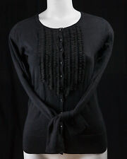 WOMEN BLACK OLD NAVY KNITTED CARDIGAN WITH DECORATION ON FRONT - SIZE S