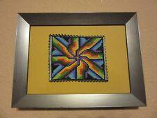 PINWHEEL MANDALA RAINBOW COLORS PICTURE HANDMADE BEAD MICROMOSAIC FRAMED ART