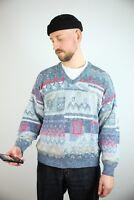 Original 80s 90s True Vintage Retro Strickpullover Sweatshirt V-Ausschnitt - M