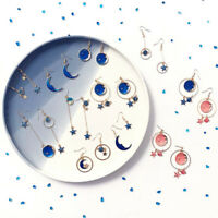 Moon Star Earrings Drop Hoop Chain Pendant Dangle Women Ear Stud Hook Jewellery