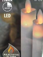 2 Stück LED Stabkerzen Set 23 cm Bewegliche Flamme Timer Elfenbein