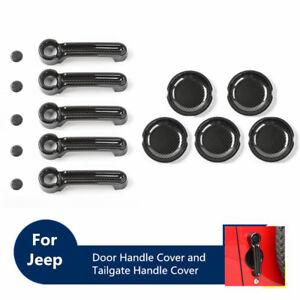Carbon Fiber Door Handle Cover Tailgate Handle Trim for 07-17 Jeep Wrangler JK