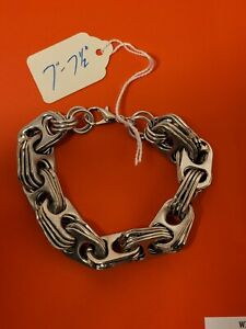 """7""""-7.5"""" Silver Aluminum Pull Tab Can Tab Bracelet Steam Punk with Lobster Clasp"""