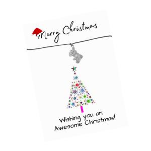 Awesome Christmas Verse Card - Christmas Charms - Xmas Friendship Wish Bracelet