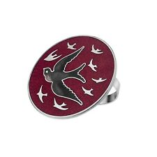 ATTRACTIVE ENAMELLED SWALLOW BIRD RED SCARF RING IN PRESENTATION BOX