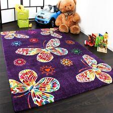 Purple Butterfly Rug Girls Bedroom Carpet Children Kids Room Nursery Play Mat