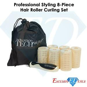 Professional Styling 8 Piece Hair Cling Rollers Curling Set With Handle & Bag