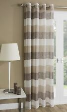 Contemporary Striped Voile Net Curtain Panel Eyelet Ring Top All Sizes Stripes Natural Brown 229 X 140cm / 55 X 90in