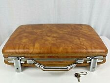 Vintage American Tourister Marble Brown Hard Shell Attache Brief Case W/ KEY !!