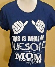 """This Is What an Awesome Mom Looks Like"" Anvil T-Shirt Large Navy Blue SS Cotton"
