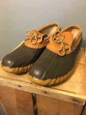 Vtg Ll Bean Maine Hunting Rain Shoes Mens 9 M Gum Rubber Leather Boots Usa Low