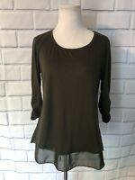 NWT Style & Co 3/4 Sleeve Blouse Sz S Olive Green Sheer Bottom Stretch New $34