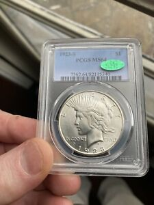 1923 S PEACE SILVER DOLLAR PCGS MS 64 CAC