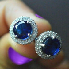 3.10CT Blue Sapphire Round Diamond Screw Back Stud Earrings 925 Sterling Silver
