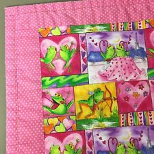 """Frog quilt handmade finished cartoon frogs pink yellow love hearts dots 45x52"""""""