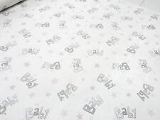 Stoff Baumwolle Twill mit Baby Sterne Design weiß grau rosa Kinderstoff