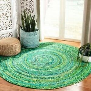 Natural 100%Cotton Rug Hand Braided Bohemian Green look Living Area Outdoor Rugs