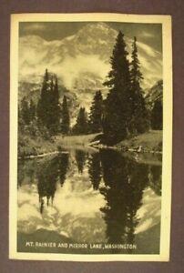 Mt. Rainier and Mirror Lake, Washington - Black & White - White Border Postcard