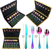 Cutlery Stainless Steel Rainbow Set 20pc & 24pc Forks, Knives & Spoon With Box