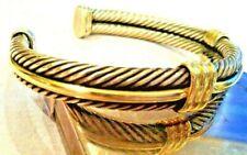 Vintage David Yurman Men's CUFF CABLE Bracelet Sterling & 18k Gold - NEW