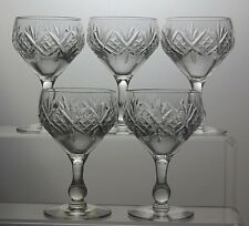 LOVELY CUT GLASS CRYSTAL GLASSES SET OF 5