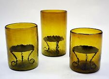 Set of 3, Crackled Amber Glass Hurricane Lamps, with Pillar Trays