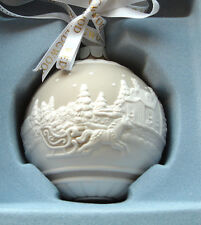 Wedgwood SLEIGH RIDE Ball Ornament Porcelain Taupe/Tan & White Relief New