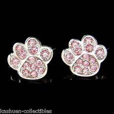 Pink w Swarovski Crystal Dog KITTY CAT Kitten Pawprint Paw Print Animal Earrings