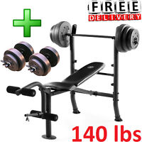 Fitness Bench With Weight Set 140lb Gym Barbell Equipment Exercise Home Workout