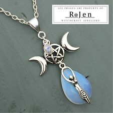 Triple Moon Pentagram Goddess Rainbow Moonstone & Faceted Opalite Pendant Wiccan