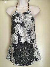 White House Black Market  Gold Chain Silk Halter Top Black & White Size 0 EUC