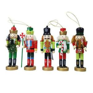 5Pcs Christmas Wooden Nutcracker Soldiers Doll Toy Xmas Party Ornaments Kid Gift
