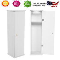 Wood Narrow Bathroom Storage Cabinet Toilet Paper Holder Tissue Slim Stand Door