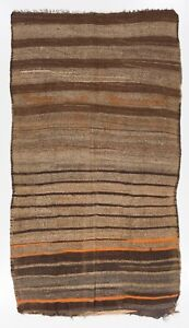 5.7x7.6 Ft Banded Vintage Anatolian Kilim Runner. Brown, Gray, Orange color wool