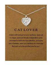 NEW Cat Lover Silver Plated Paw Print Heart Necklace With Display Card Poem Gift