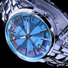 Excellanc Damen Armband Uhr Hell-Blau Silber Farben Streifen Reflektion