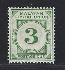 1952 Malaya - Scott #J22 (SG #D16) – 3c Green Postage Due – MH
