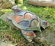 More details for hand carved made wooden rainbow sea beach turtle sculpture ornament statue